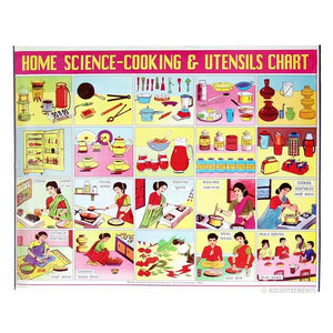 Home Science - Cooking and Utensils Chart Poster