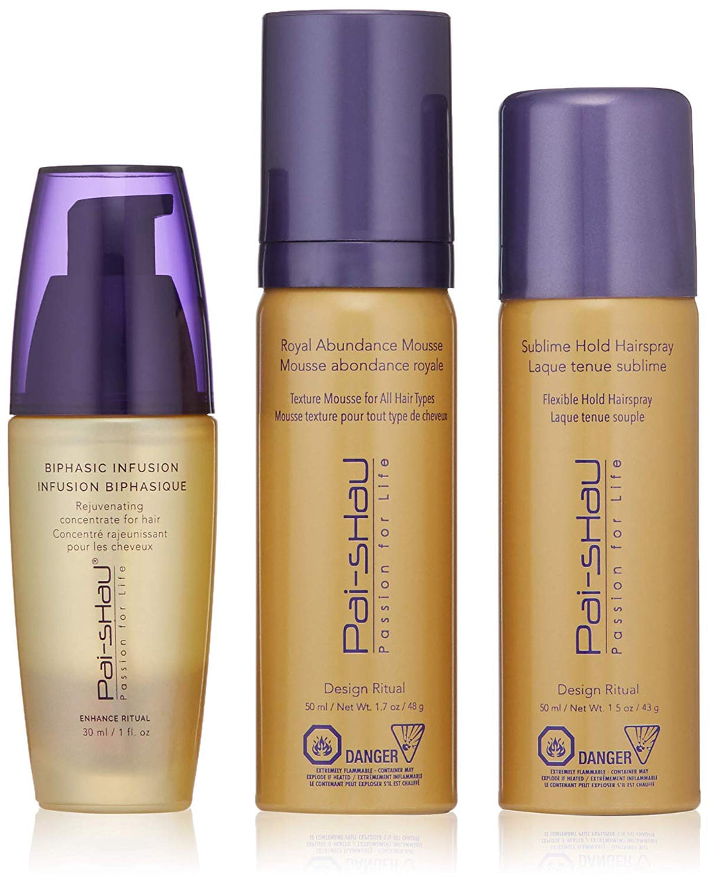PAI SHAU GIFT DESIGN RITUAL 3 PIECEBiphasic Infusion 1 fl.oz Royal Abundance Mousse 1.7 fl.oz Sublime Hold Hairspray 1.5 fl.oz