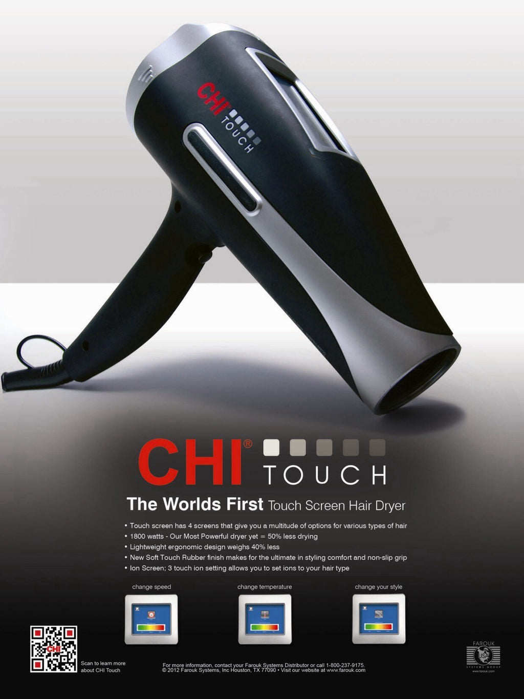 FAROUK CHI Touch Low EMF hair dryer