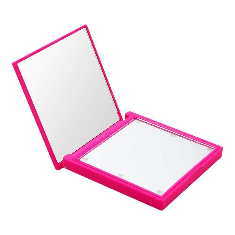 LED Lights Compact Mirror Fuschia (Soft Touch)
