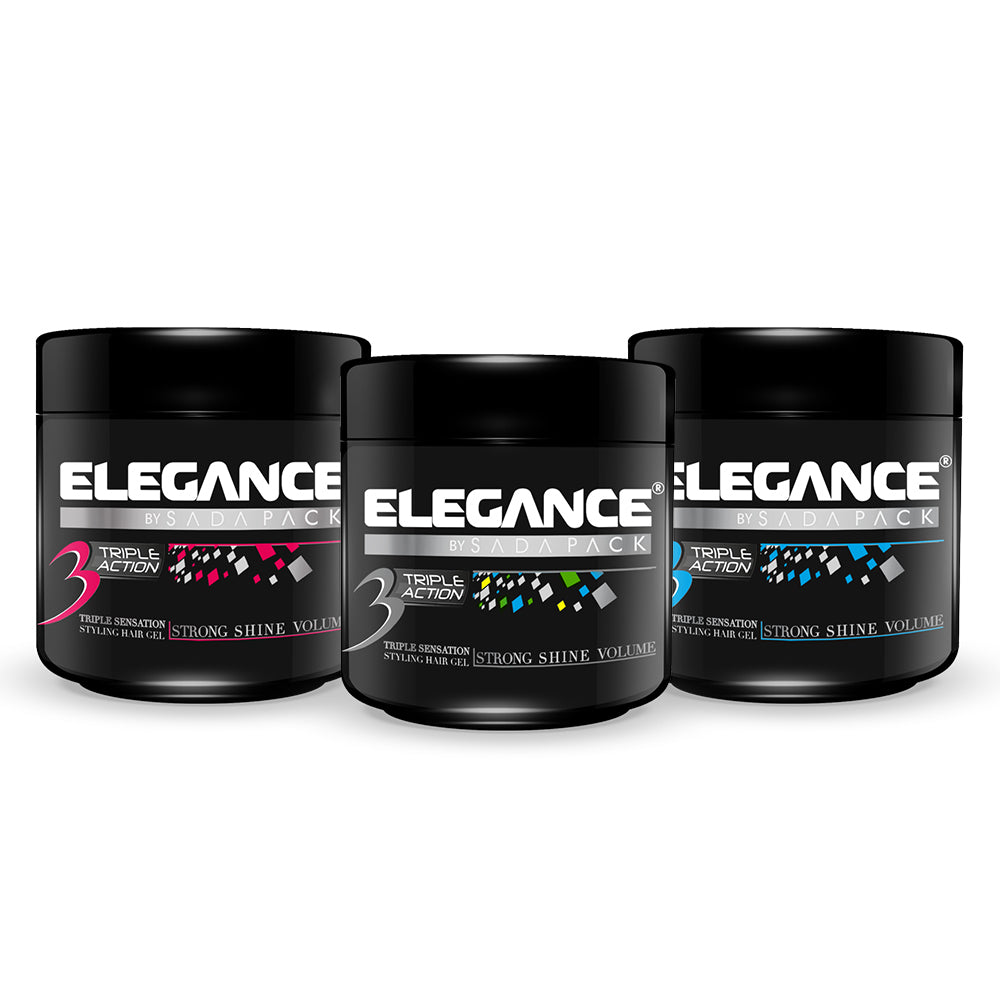 ELEGANCE Triple Action Super Strong Hold Hair Gel Earth