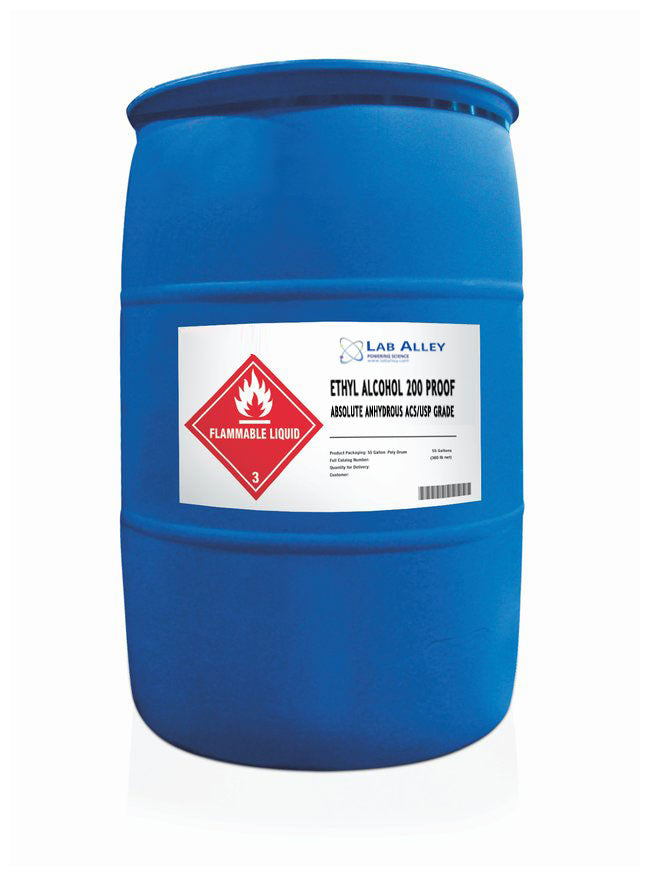 Ethanol 200 Proof, Tincture Grade Alcohol, Undenatured, ACS-USP Grade, Tax Paid, 55 Gallon Drum, Poly