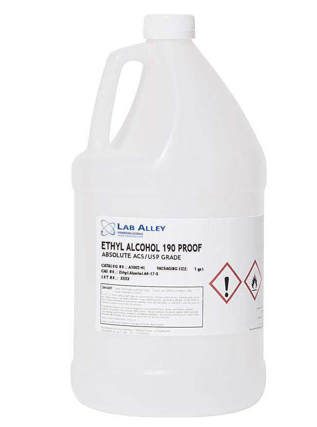 Ethanol 190 Proof, Undenatured, Food Grade Ethanol, ACS-USP Grade, Tax Paid, 1 Gallon, Poly Pail