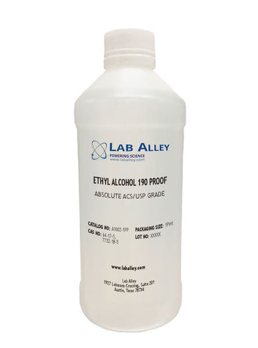 Ethanol 190 Proof, Undenatured, Food Grade Ethanol, ACS-USP Grade, Tax Paid, 1 Pint Poly Bottle