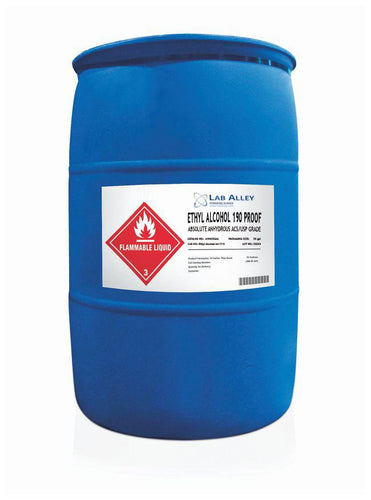 Ethanol 190 Proof, Undenatured, Food Grade Ethanol, ACS-USP Grade, Tax Paid, 55 Gallon Drum, Poly