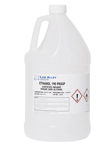 Ethanol 190 Proof, Certified Organic Sugar Cane Alcohol, Tax Paid, 1 Gallon