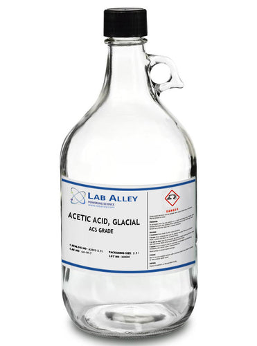 Acetic Acid, Glacial, ACS Grade, 2.5 Liter Glass Bottle