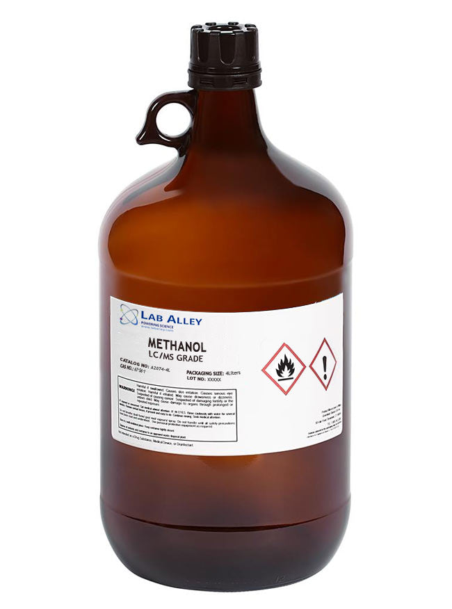 Methanol LC/MS Grade, 4 Liter Glass Bottle