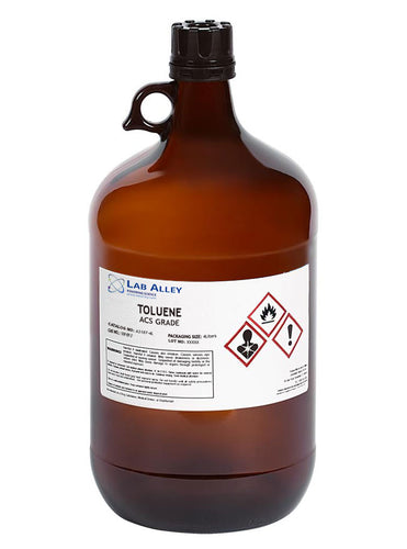 Toluene, ACS Grade, 4x4 Liter Glass Bottles