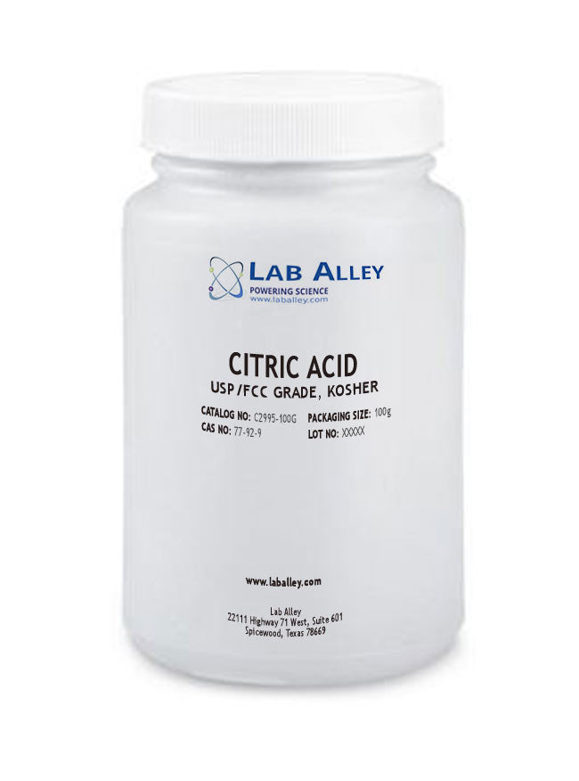 Citric Acid, USP/FCC Grade, Kosher, 100 g