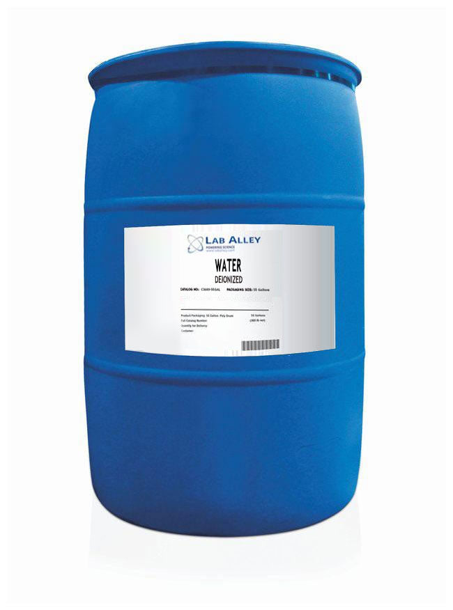 Deionized Water Lab Grade, 55 Gallon Poly Drum