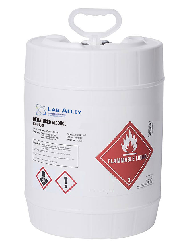 Denatured Ethanol 200 Proof, SDA 3A Ethanol, Denatured Alcohol, 5 Gallon Pail, Poly