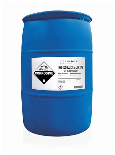 Hydrochloric Acid, ACS Reagent Grade, 37%, 55 Gallon Drum