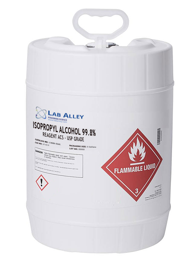 Isopropyl Alcohol (IPA), 99.8%, ACS/USP Grade, 5 Gallon Pail