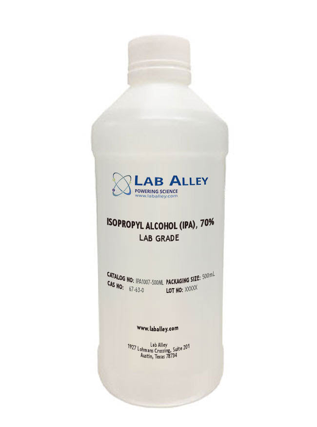 Isopropyl Alcohol (IPA) 70%, Lab Grade, 500 mL Bottle