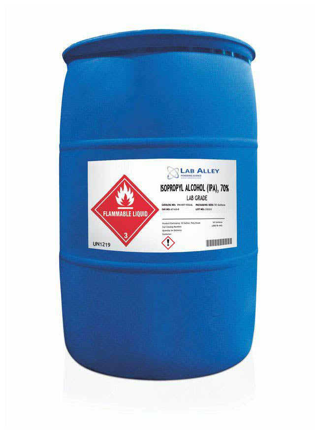 Isopropyl Alcohol (IPA) 70%, Lab Grade, 55 Gallons Poly Drum