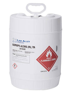Isopropyl Alcohol (IPA) 70%, Lab Grade, 5 Gallons Poly Pail