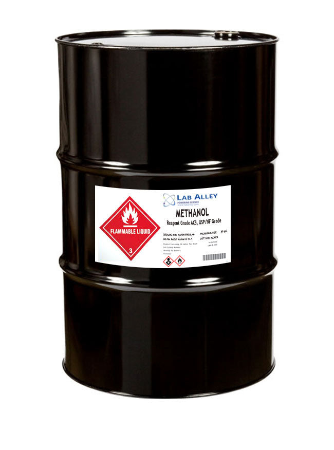 Methanol (Methyl Alcohol), Reagent ACS, USP/NF Grade, 55 Gallon Drum, Metal