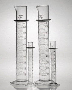 PYREX Class A Cylinders with Double Metric Scale