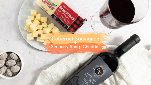 90+ Cellars Cabernet Sauvignon paired with Cabot Seriously Sharp Cheddar Cheese