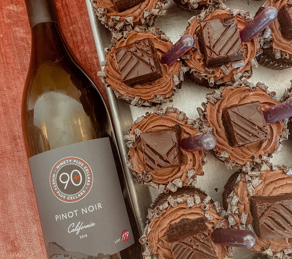 90+ Cellars Pinot Noir infused Queens Cups cupcakes