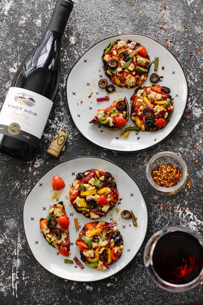Pizza Stuffed Portobello Mushrooms paired with Pinot Noir