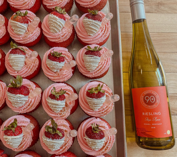 90+ Cellars Riesling filled Queens Cups Cupcakes
