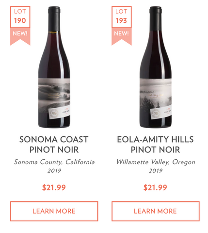 New Collector Series Pinot Noir Wines