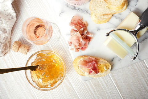Lot 49 Sparkling Rosé Paired with Apple Jelly with Cured Ham and Manchego
