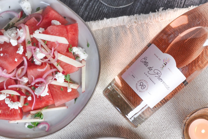 provence rosé paired with watermelon salad for summertime