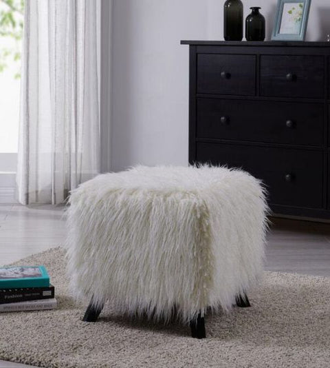 Heavy Shaggy Faux Sheepskin Stool