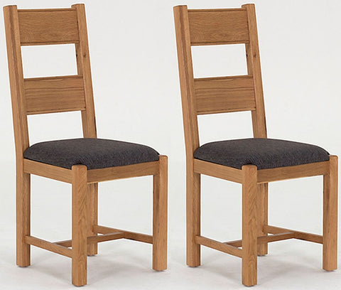 Breeze Oak Dining Chair Grey Seat Pad (Pair)