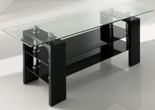 Calico Glass Top Black TV Stand