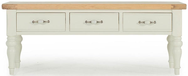 Chalk Oak Coffee Table with 2 Sided Drawer