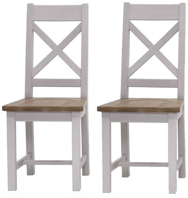 Clemence Grey Painted Dining Chair (Pair)