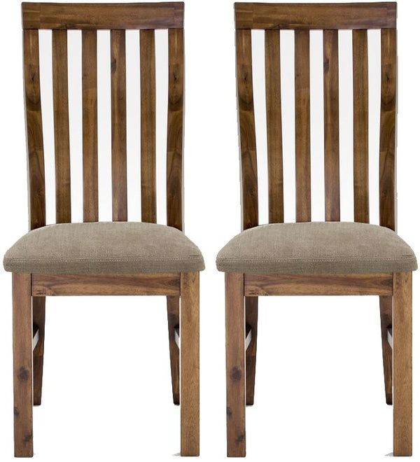Emerson Walnut Dining Chair Slatted Back (Pair)