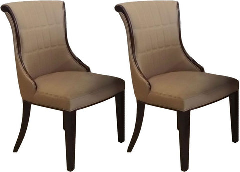 Ravelli Faux Leather Dining Chair Beige (Pair)