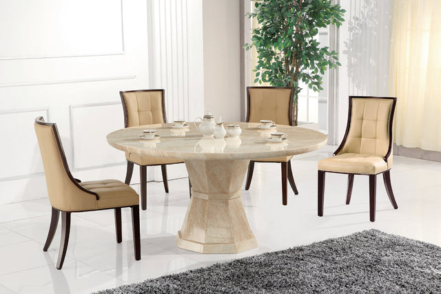 Round Marble Table + 4 ( 100cm Table )
