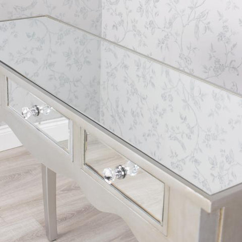 Mirrored Three Drawer Console Table