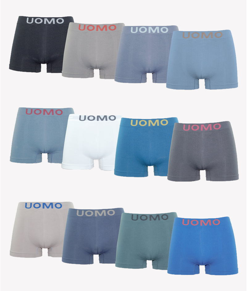Calzoncillos boxer licra sin costura color uniforme (Pack de 12)