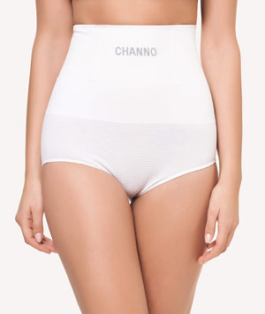 Braga faja reductora con rejilla sin costuras blanco frontal - CHANNO Woman