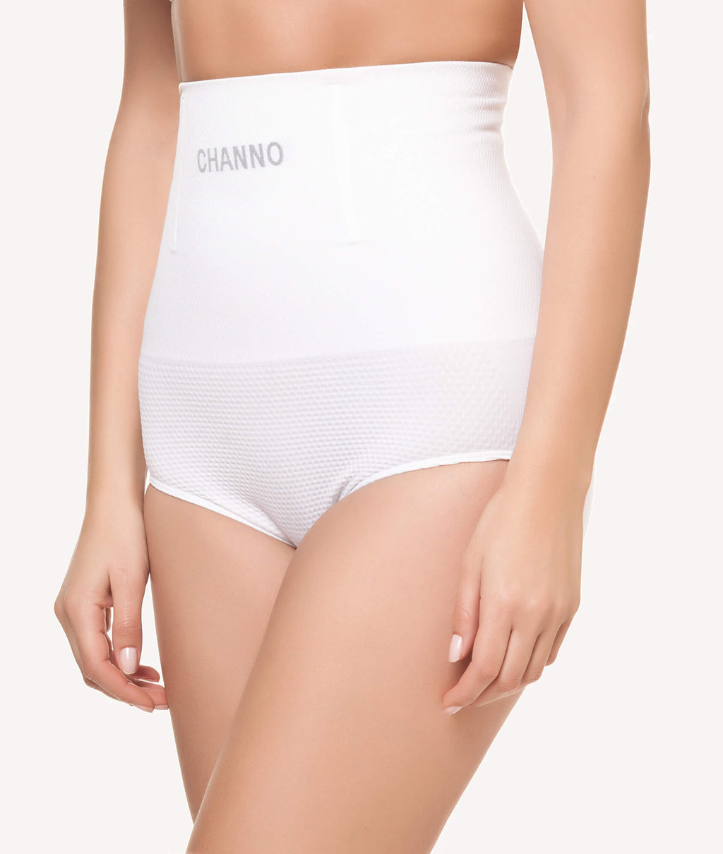 Braga faja reductora con rejilla sin costuras blanco lateral - CHANNO Woman