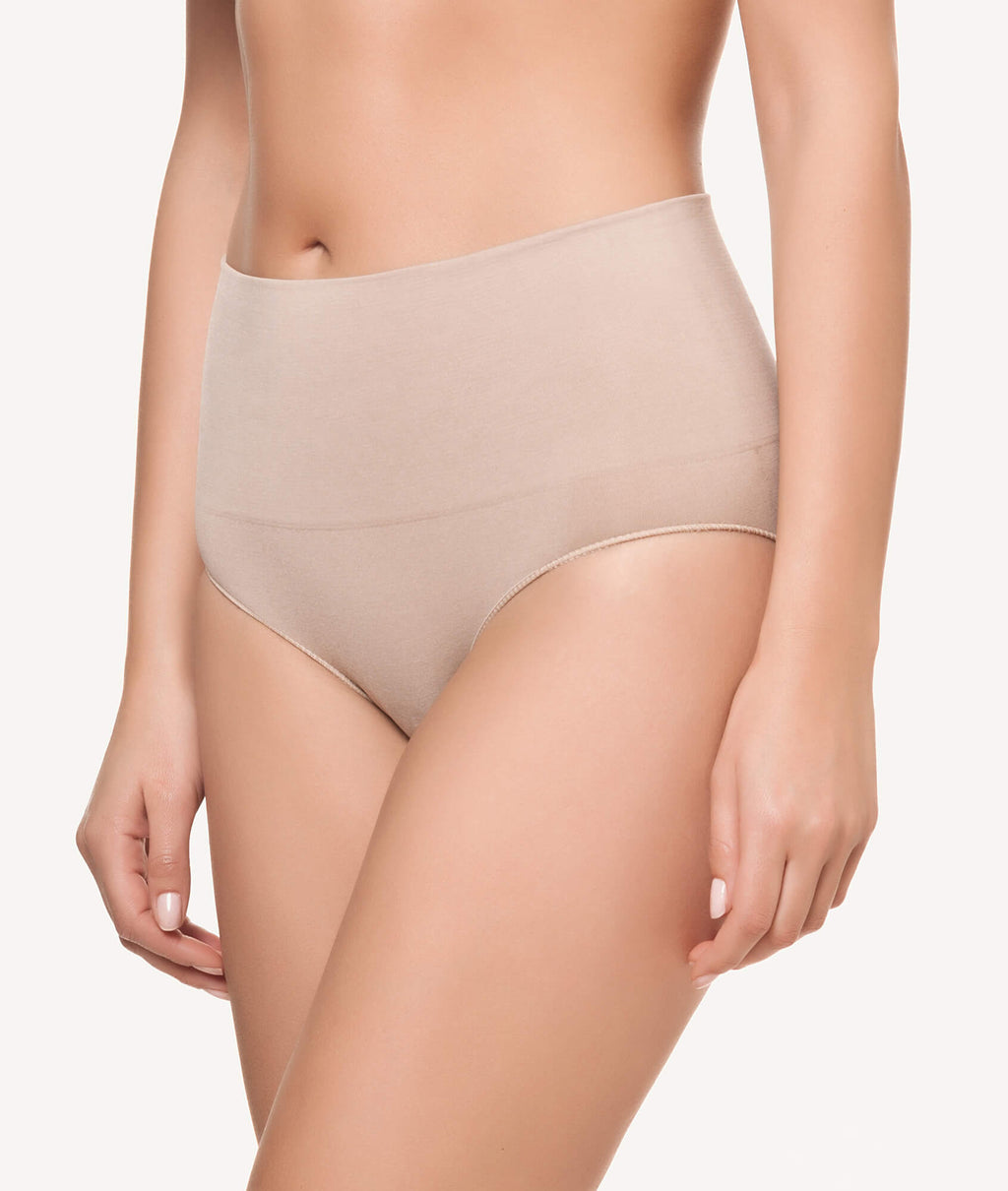 Braga faja baja reafirmante doble capa beige lateral - CHANNO Woman
