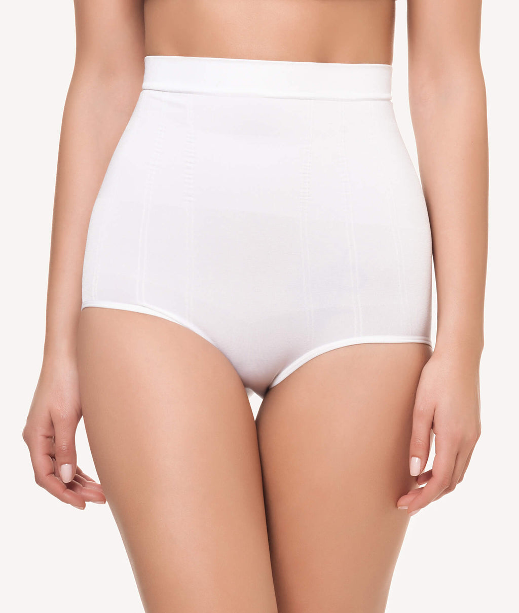 Braga faja reductora con rayas sin costuras blanco frontal - CHANNO Woman