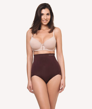 Braga faja reductora invisible sin costuras marron frontal - CHANNO Woman