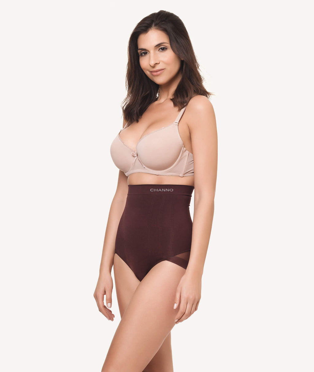 Braga faja reductora invisible sin costuras marron lateral - CHANNO Woman