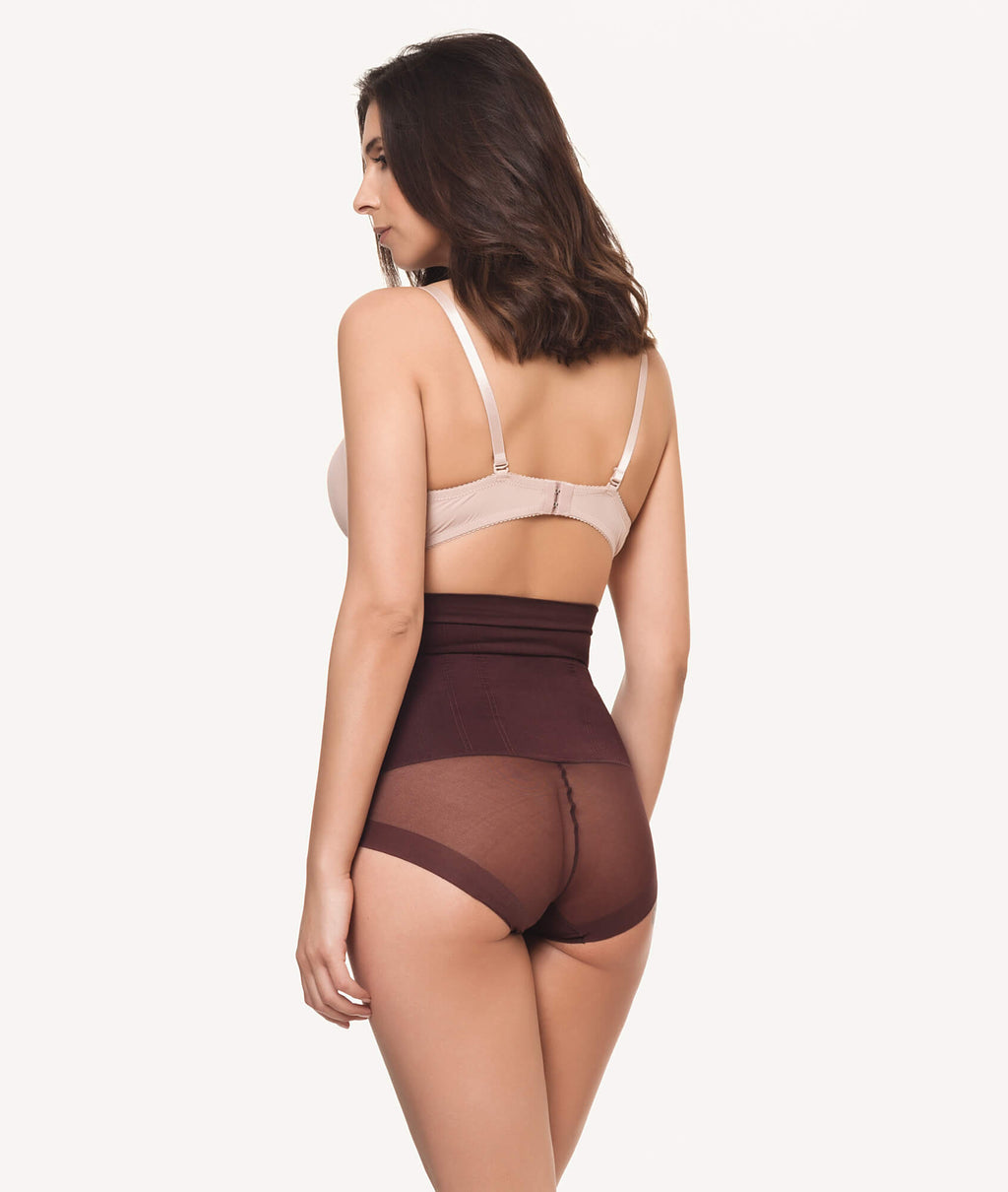 Braga faja reductora invisible sin costuras marron trasera - CHANNO Woman