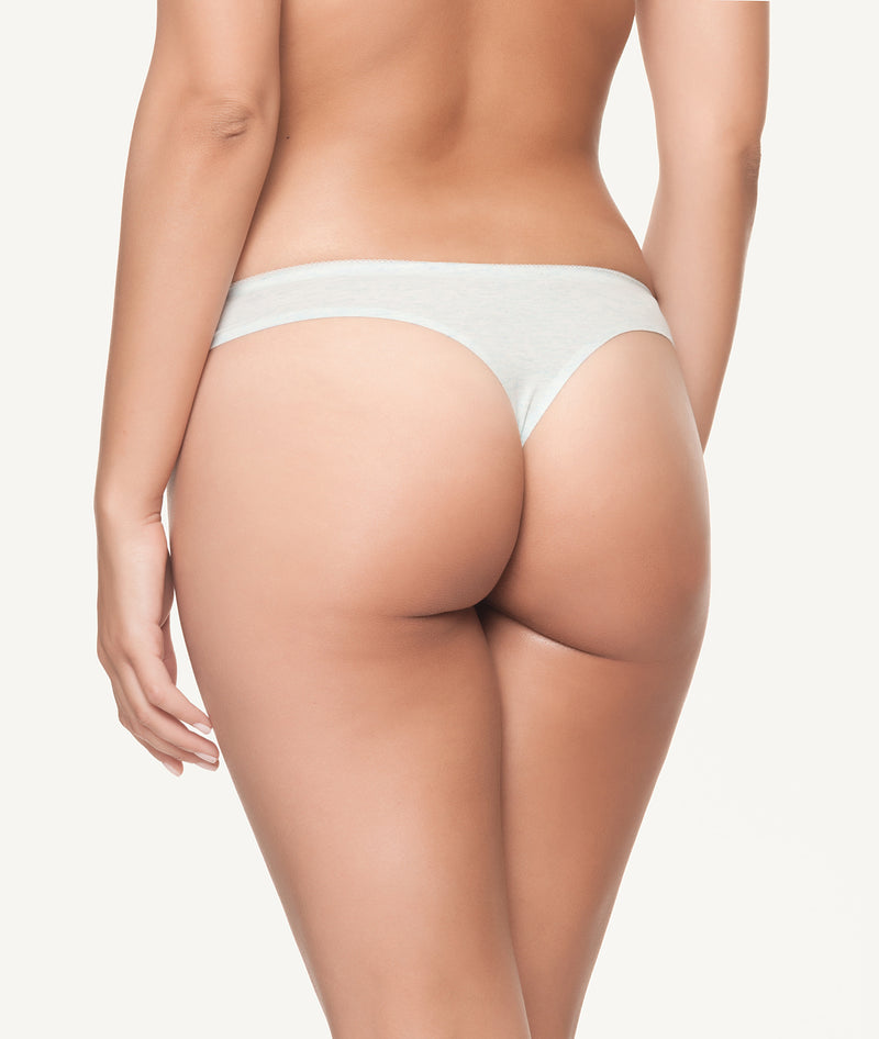Tanga algodón con bordados laterales en colores pastel frontal - CHANNO Woman
