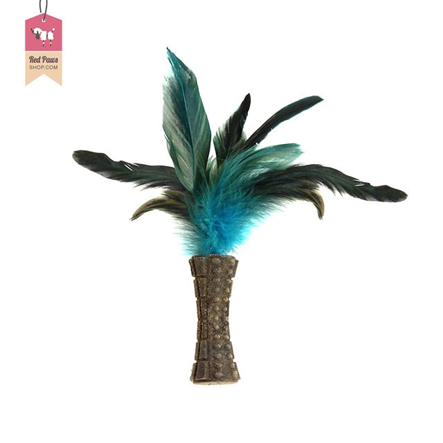 Gigwi Catnip Johnny Stick With Natural Feather Blue