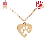 Dog Paw Heart Necklace Jewellery